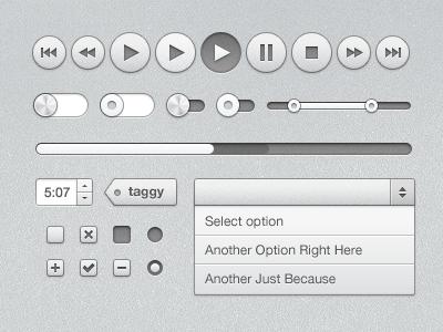 UI Kit ui kit buttons toggle slider progress check box select free freebie