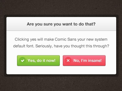 Are You Sure? modal buttons free freebie