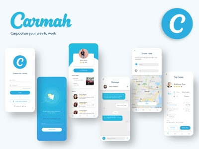 Carmah | Carpool on your way to work together friends van car vehicle highway route carpool ui mobile app mobile ui map passengers traffic working taxi driver taxi travel