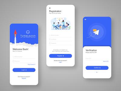 Startup Funding Platform ux mobile ui design team treinetic simple verification registration login screen mockup mobile app design mobile app uiux ui mobile startup