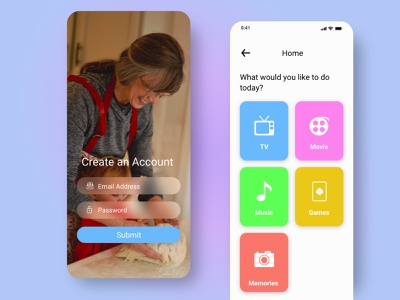 Entertainment App for Older Adults senoirs older adults entertainment uiux adobexd ux ui mobile ui mobile app