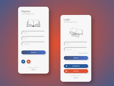 Neomorphic Design for Login and Registration illustration login design design mobile app adobexd uiux ux ui mobile ui registration login neomorphism