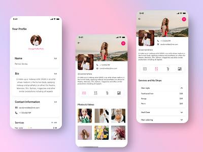 The Makeup App treinetic beauty accordion mobile app uiux ux ui favorites photo grid tabs card list makeup artist makeup mobile ui