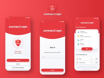 Connect2Vpn | Design and Development vpn android ios design treinetic ui mobile ui mobile app