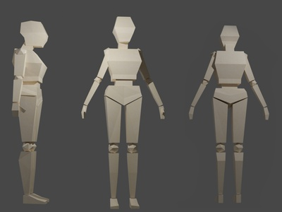 Low Poly Character / part 1 game design paper character 3d art 3d blender