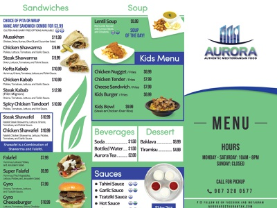 Aurora trifold face side restaurant menu design menu adobe illustrator