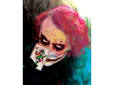 Joker red black green pink card joker art drawing illustration brush abstract photoshop