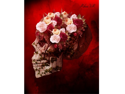 skull wall art poster wall art red blood flowers photo manipulation abstract skull art illustration photo manip photo edit photoshop adobe illustrator