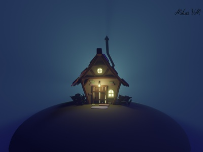 Stylized Cottage anime illustraion house rendering modeling 3d blender 3d