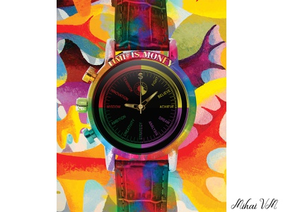 Watch Design colorful motivational watch canvas art photo manipulation photo edit photoshop