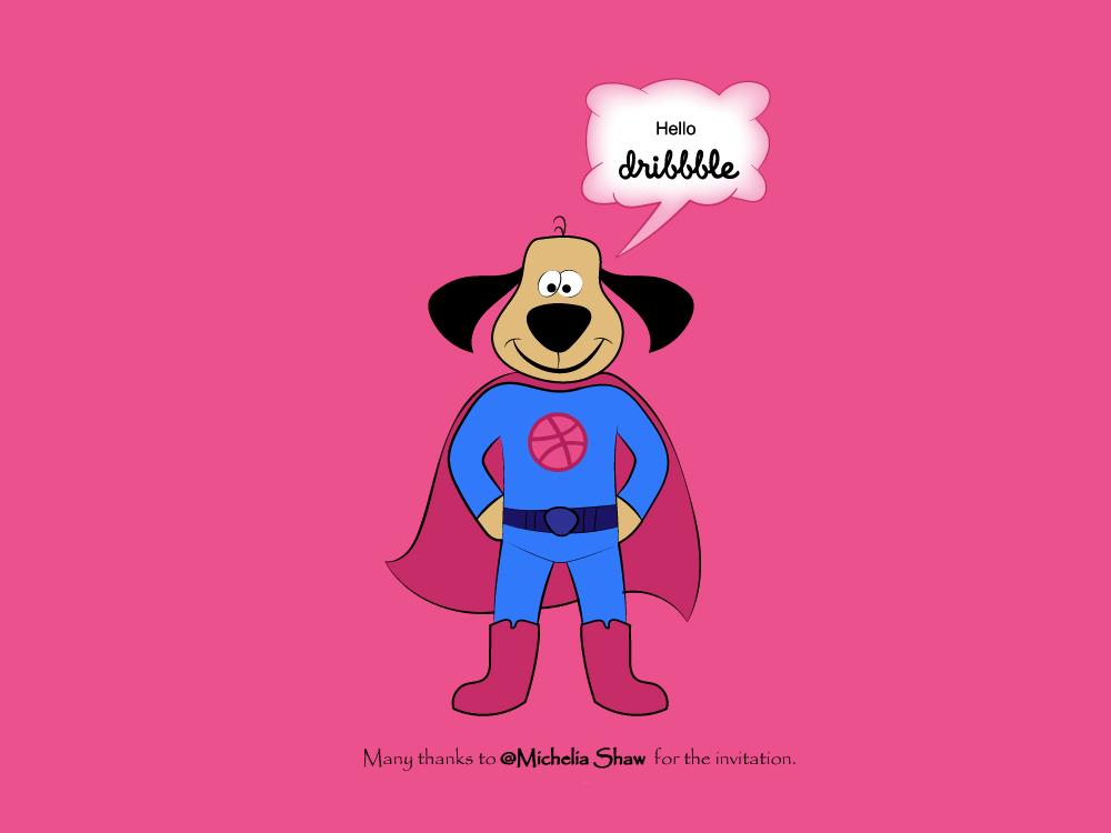 Hello dribbble ! hero dog dribbble shot invitation debut illustration drawing vector adobe illustrator design character