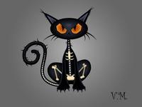 Spooky black cat character
