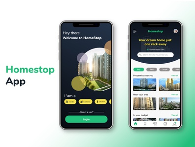 HomeStop, your one stop for property search. minimize 99acres property airbnb hybrid app android app ios app map location property app ui ui gradients vector design designs dashboard branding analysis illustration anomations
