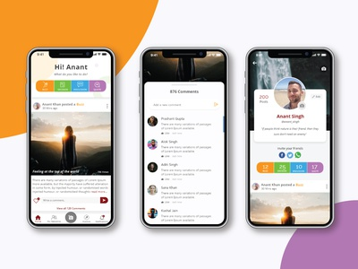 Zoruk, India's first-ever social network facebook ad instagram social likes navigation search comment facebook hybridapp socialmedia 99acres typography dashboard android app vector ui designs anomations analysis gradients