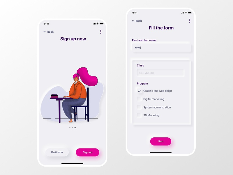 Neumorphism in user interfaces product design mobile app uidesign dailyui class form school product illustration illustraion signup neumorph neumorphism neumorphic