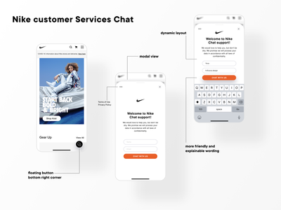Nike customer services chat modal forms ui design chatbot chat nike customer service ios mobile clean product design dailyinspiration ux ui