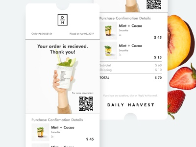 Email Receipt Daily Ui 017 email clean design clean healthy lifestyle healthy healthy food fruits smoothie daily harvest support date purchase email receipt 017 ui dailyui017 webdesign dailyinspiration dailyui