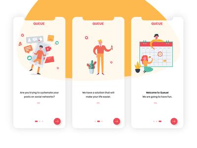 Onboarding pages for mobile app vector flow screen ios new user minimal cards ui social media queue mobile illustration 023 onboard dailyui023 app ui digitaldesign webdesign dailyinspiration dailyui