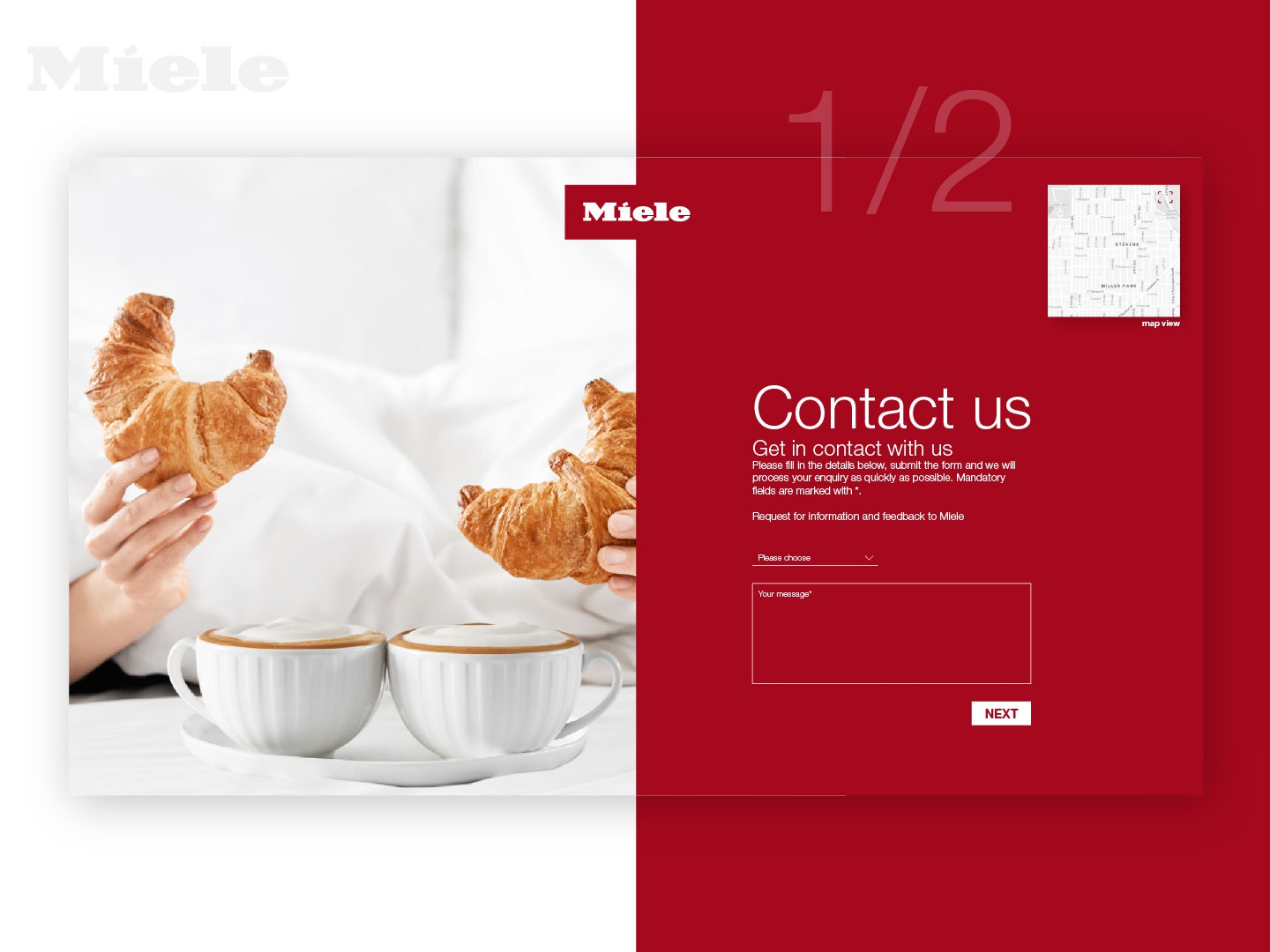 Contact Us form for Miele 1/2 028 ui webdesign dailyinspiration steps map design address kitchen brand helvetica message information fields enquiry fill page contact dailyui028 dailyui contact us