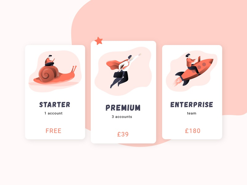 Pricing plans pricing plans plans dailyinspiration dailyui free account responsive table digital ui mobile web simple pricing money modern illustration color coral abstract