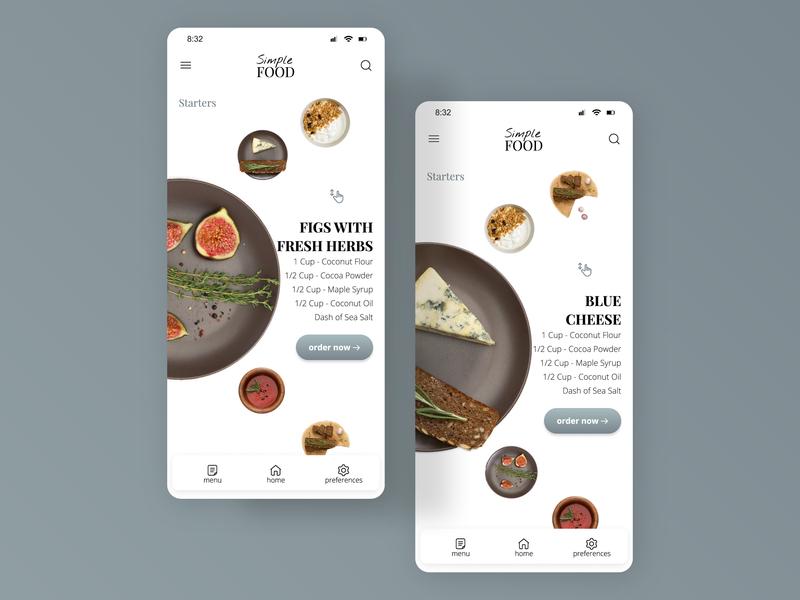 Food/Drink Menu figma fruits clean digitaldesign breakfast scroller ios interface webdesign ui dailyinspiration mobile recipe app dailyui043 dailyui fooddrink menu menu drink food