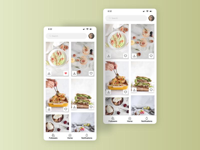 Favorites like button profile search bar download love favourites unsplash tasty food fruits figma interface clean mobile card app ui dailyinspiration dailyui044 dailyui