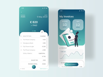 Invoice interface design vector illustration figma clean mobile ui dailyui046 dailyui dashboard accounting stats send pay ios app invoice finance chart business bank