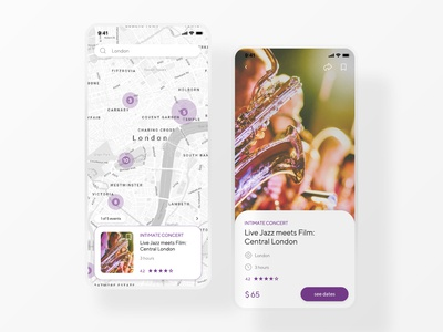 Event Listing ios mobile clean digitaldesign webdesign dailyinspiration ui dailyui070 dailyui find rounded corners card purple jazz pins map listing