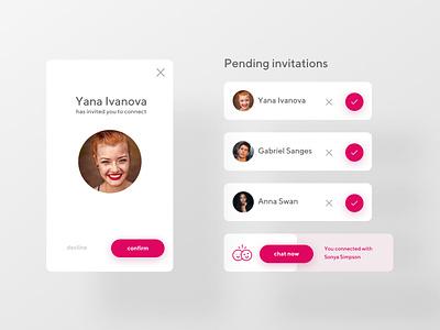 Pending Invitation slide checkmark decline confirm invite profile cards webdesign dailyinspiration ui dailyui invitation pending