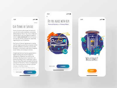 Terms of Service mobile interface digitaldesign app clean gradients art illustrations terms of service dailyinspiration ui dailyui