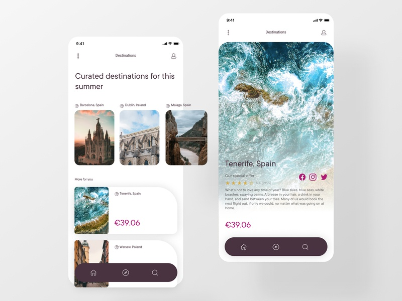 Curated for You digitaldesign ios travel trips images destionations app clean webdesign dailyinspiration ui dailyui curate