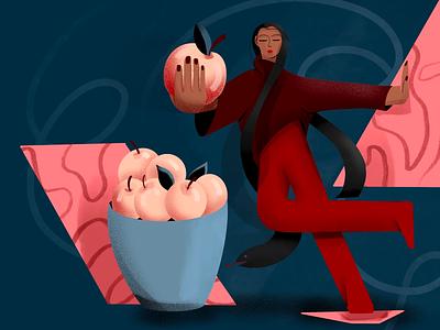 Be careful character design flat illustration apple snake forbidden procreate app procreate illustraion