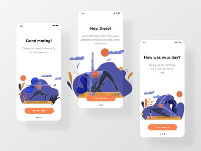 Yoga all day app procreate yoga app yoga flat illustration ios mobile app clean webdesign dailyui