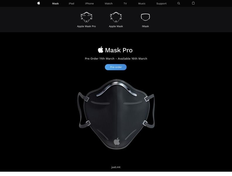 Apple Mask Pro - just.mt funny concept virus coronavirus corona maskpro applemaskpro applemask apple ui mockup minimal illustrator illustration flat design branding brand app