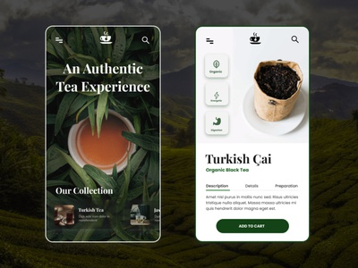 Authentic Tea Prototype tea prototype ui design