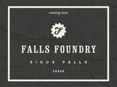 Falls Foundry south dakota branding f typography map logo gear foundry entrepreneurs startup sioux falls