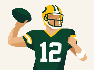 Mr. Rodgers aaron rodgers green bay packers football wisconsin 12 texture arm sports illustration character quarterback