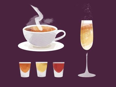 Shots Bubbly And Tea drinks watercolor illustration texture teacup glass cup bourbon tea champagne bubbly shots