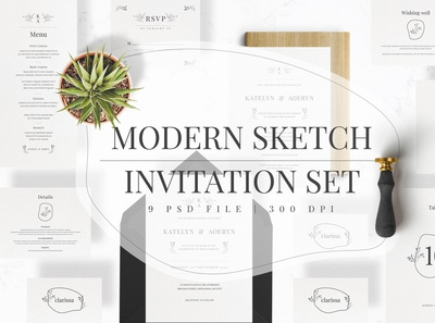 Modern Sketch Invitation Set