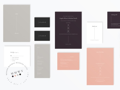 Modern Minimal Wedding Suite template design minimalist bridal anniversary simple groom bride template card design card invitation elegant diy wedding card modern invite invitations feminine wedding invitation minimal