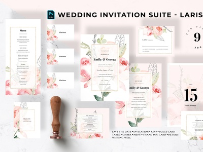 Wedding Invitation Suite - Larissa anniversary trendy card invitation card invitation design invitation set greetingcard classy pitch watercolor elegant invitation modern invite invitations feminine wedding invitation wedding card minimal diy
