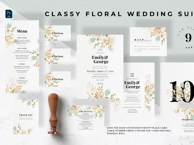 Classy Floral Wedding Suite anniversary royal invitation card invitation design leaves leaf floral eucalyptus design classy invitation set card invitation invitations modern invite feminine wedding invitation wedding card minimal diy