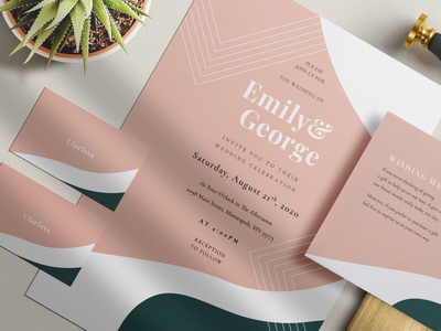 Modern Abstract Wedding Suite wedding invitations abstract blush pitch classy groom bride anniversary wedding invite weddings invitation elegant invitations wedding card modern invite feminine wedding invitation minimal diy