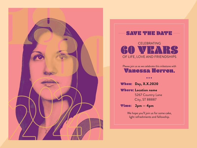 1960-2020 invitation typography graphic design