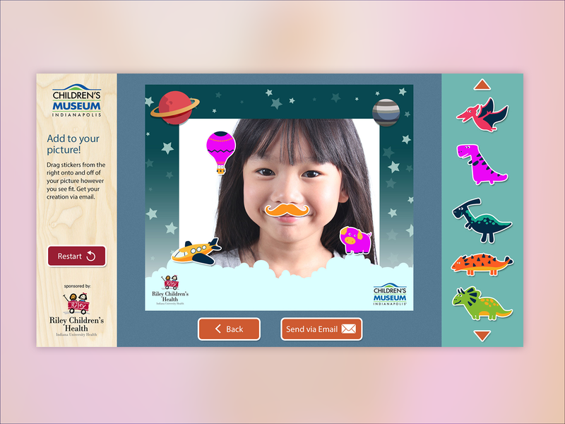 Children's Museum Indianapolis Photo Kiosk interactive design stickers illustrator photoshop graphic design illustration