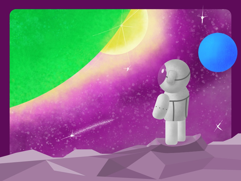 Astro Space planets sun stars sparkling beautiful spaceman space vector illustration affinity design