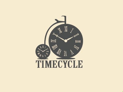 Timecycle time clock bicycle concept logo