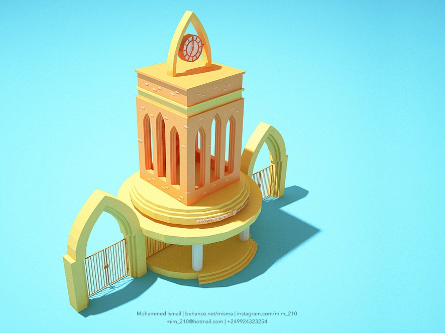 University of Khartoum Gate - 3d Low Poly cinema 4d c4d building gate lowpoly lowpolyart blue and yellow orange blue landmark sudan university 3d 3d art freelance designer 100 day project daily 100