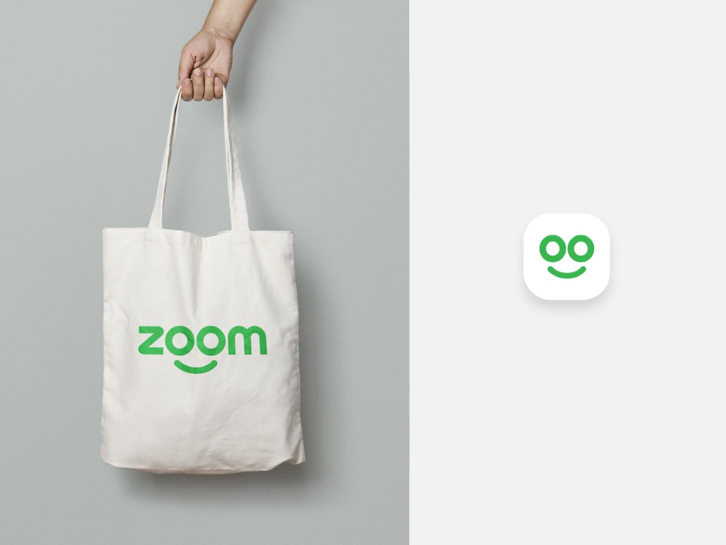 Zoom Logo application and icon simple clean concept app graphic brand design identity design hand mock up bag zoom green design branding vector freelance designer ui 100 daily ui icon logo