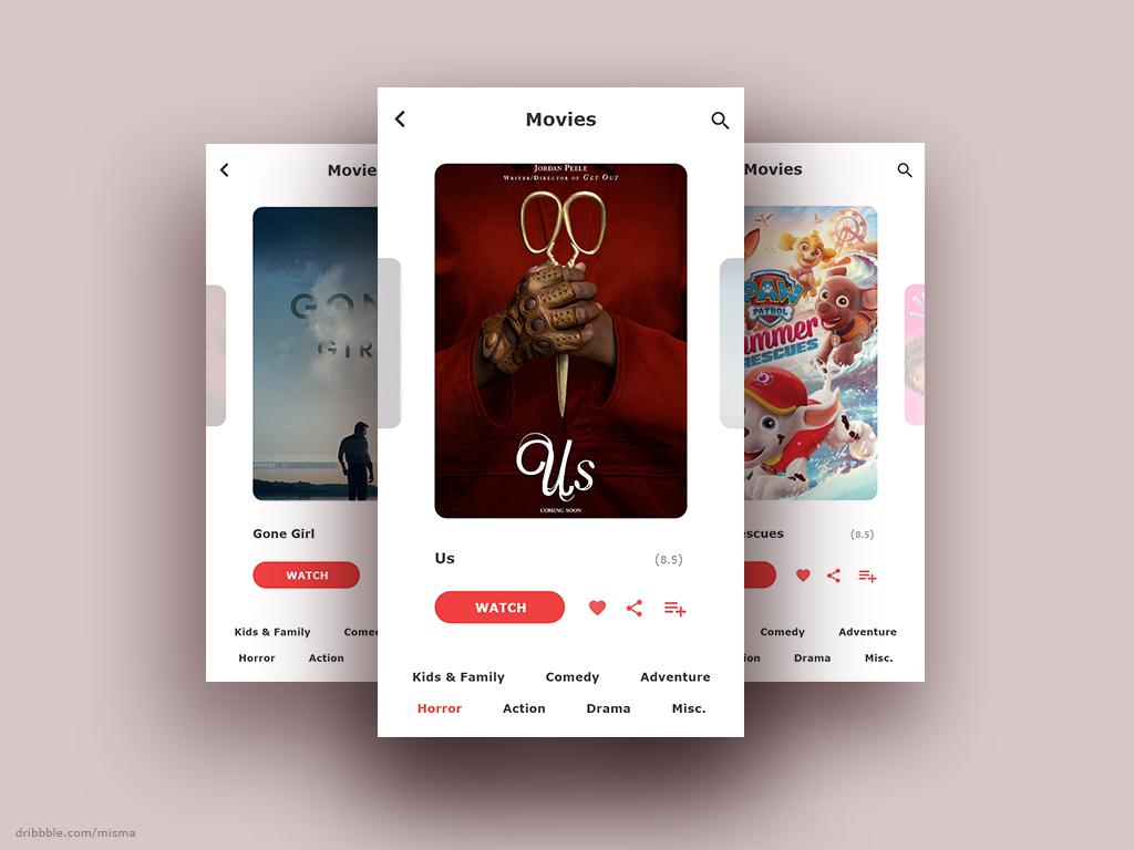 025 daily ui - tv app ux icon flat concept design branding clean simple app user interface designer kids visual designer android app design red tv app movie app freelance designer ui 100 daily ui 100 day project